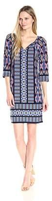 London Times Women's 3/4 Sleeve Scoop Neck Jersey Shift Dress