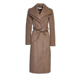 T Tahari Womens Alice Wool-Blend Coat Tan (M)