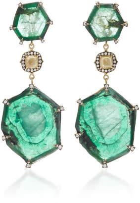Sylva & Cie 18K Gold Emerald and Diamond Drop Earrings