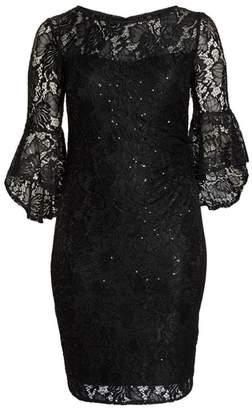 Morgan & Co. Bell Sleeve Lace Sheath Dress