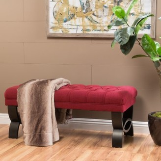 Noble House Pullman Tufted Fabric Bench Ottoman, Deep Red