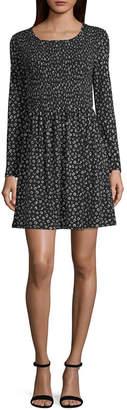 WALLFLOWER Wallflower Long Sleeve Floral Fit & Flare Dress-Juniors