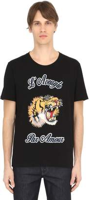 Gucci Tiger Patch Cotton Jersey T-Shirt