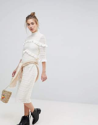 Moon River Lace Ruffle Midi Dress