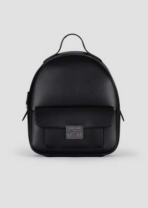 Emporio Armani Backpack In Faux Vacchetta Leather With Iconic Metal Clasp