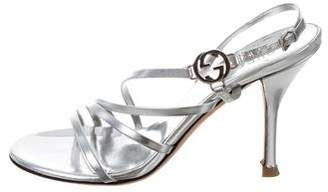 Gucci Metallic Ankle Strap Sandals