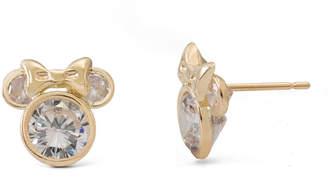 Disney 14K Yellow Gold Cubic Zirconia Minnie Mouse Stud Earrings
