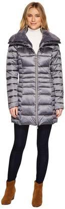 Save the Duck Long Nylon Coat with Fake Fur Women's Coat