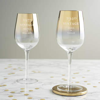 Becky Broome Personalised 'Vintage' Birthday Gold Wine Glass