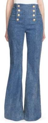 Balmain High-Waist Bell Bottom Jeans
