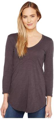 Mod-o-doc Slub Jersey 3/4 Sleeve V-Neck Tunic Women's Long Sleeve Pullover