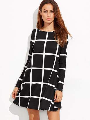 Shein Grid Print Swing Dress
