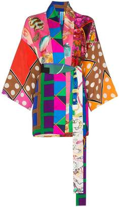 Rianna + Nina short multi fish polka dot print silk kimono robe