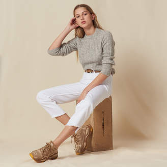 Sandro Cropped sweater with puff sleeves