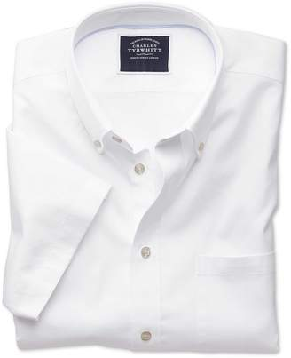 Charles Tyrwhitt Slim Fit White Washed Oxford Short Sleeve Cotton Casual Shirt Single Cuff Size Medium