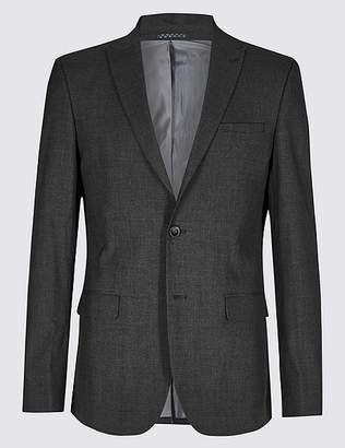 Marks and Spencer Charcoal Checked Slim Fit Jacket