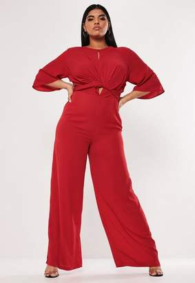 Missguided Plus Size Red Tie Front Wide Leg Romper