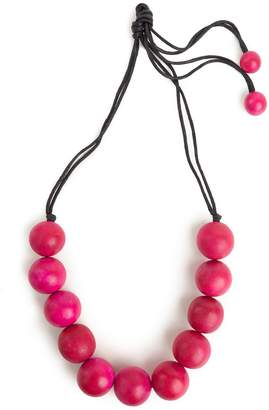 Natori Josie Large Wood Bead Necklace Rose Pink