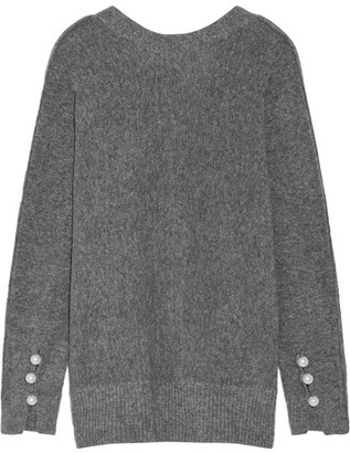 3.1 Phillip Lim - Oversized Faux Pearl-embellished Knitted Sweater - Anthracite $525 thestylecure.com
