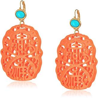 Kenneth Jay Lane Carved Coral and Turquoise Colored Resin Drop French Hook Earrings