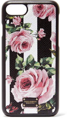 Dolce & Gabbana Floral-print Textured-leather Iphone 7 Case - Black
