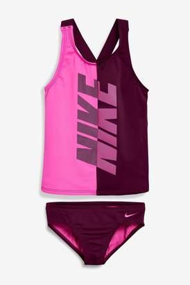 a8cb319d691 Nike Girls Swim Fuchsia Rift Crossback Tankini - Pink