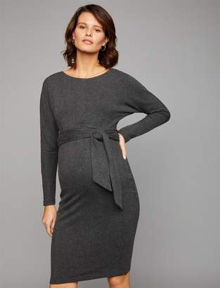 A Pea in the Pod Luxe Essentials Denim Tie Back Maternity Dress