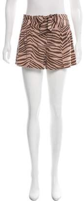 Rebecca Taylor Animal Print Silk Shorts