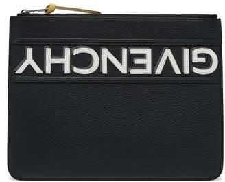Givenchy - Logo Appliqué Large Leather Pouch - Mens - Black White