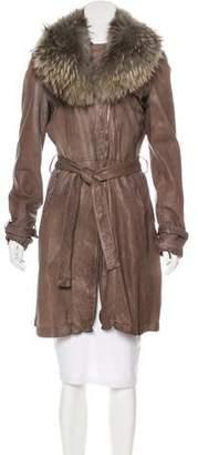 Giorgio Brato Fur-Trimmed Leather Coat