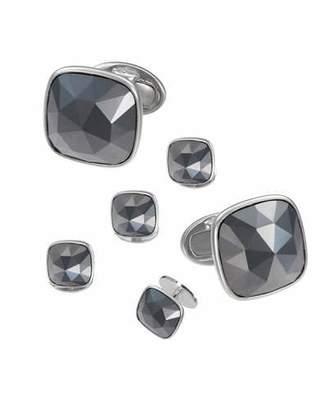Jan Leslie Faceted Hematite Square Cufflinks & Studs Set