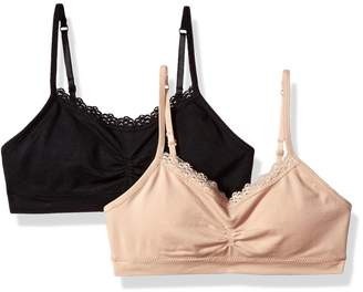 Fruit of the Loom Big Girls' Seamless Bralette with Lace(Pack of 2)