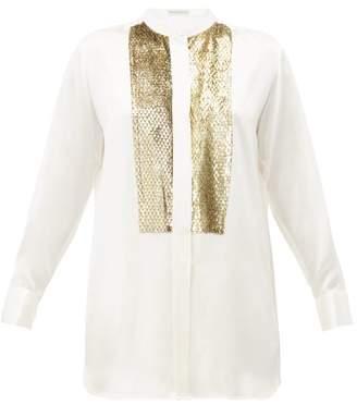Etro Surrey Lame Yoke Silk Charmeuse Blouse - Womens - White Multi