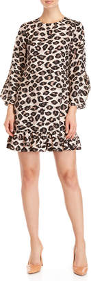 Eliza J Cheetah Print Ruffle Shift Dress