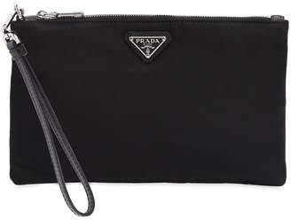 Prada Mini Nylon Toiletry Bag W/ Leather