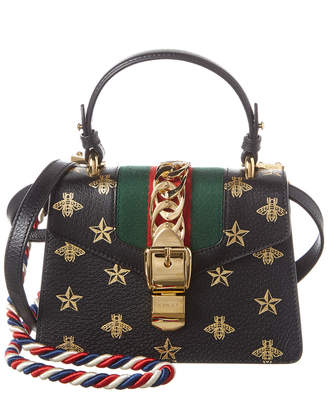Gucci Sylvie Bee Star Mini Leather Top Handle Shoulder Bag