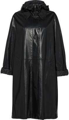 Prada midi leather coat
