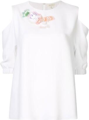 DELPOZO floral appliqués blouse