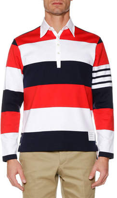 Thom Browne Men's Relaxed-Fit Rugby-Striped Long-Sleeve Polo Shirt
