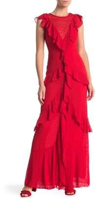 ML Monique Lhuillier Ruffle Dot Chiffon Maxi Dress