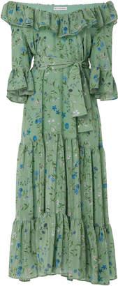 Altuzarra Helden Off-the-Shoulder Ruffle Silk Dress