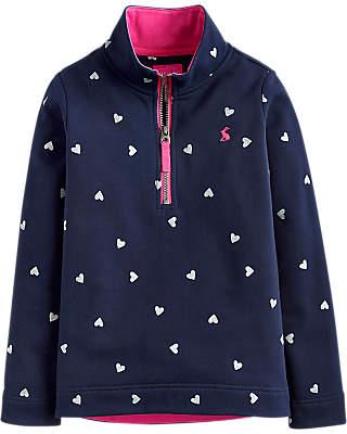 Joules Little Joule Girls' Fairdale Heart Sweatshirt, Navy