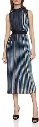 BCBGMAXAZRIA Belted Pleated Striped Midi Dress
