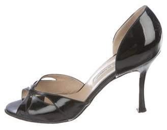 Manolo Blahnik Patent Leather Cutout Sandals