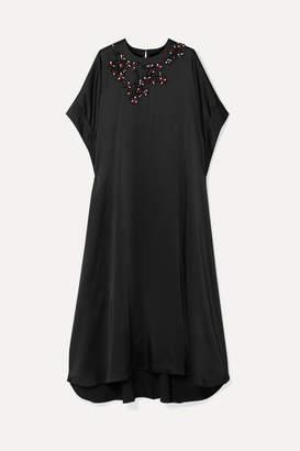 Christopher Kane Oversized Crystal-embellished Satin Maxi Dress - Black