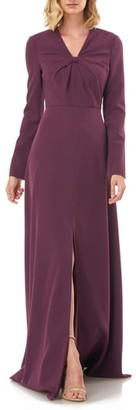 Kay Unger Long Sleeve Crepe Gown