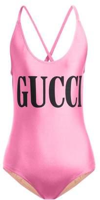 100e57fa89c42 Gucci Logo Print Bodysuit - Womens - Pink Multi