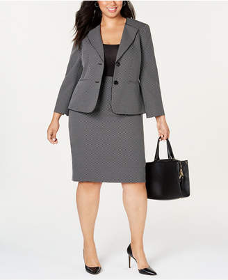 ae4eb1332 Le Suit Plus Size Geo-Plaid Skirt Suit