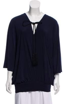 Barneys New York Barney's New York Plunging Neckline Short Sleeve Top