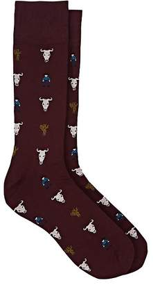 Corgi Men's Wild West-Pattern Wool-Blend Mid-Calf Socks